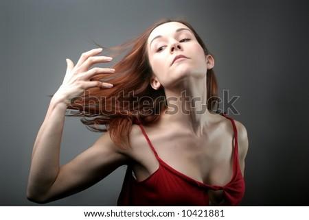 a portrait of a woman - stock photo