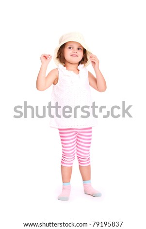 A portrait of a young adorable girl in a summer hat over white background - stock photo
