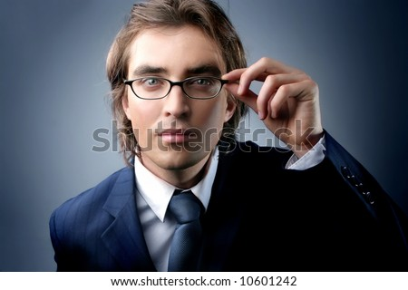 a portrait of a young business man - stock photo
