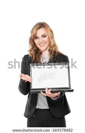 A portrait of a young business woman with laptop, isolated on white background - stock photo