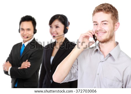 A portrait of a young caucasian calling call center. isolated in white background - stock photo