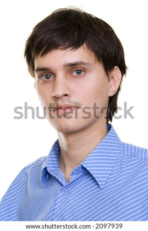 A portrait of a young man, isolated on white - stock photo