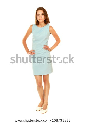 A portrait of a young woman standing isolated on white background