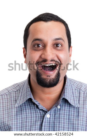 A portrait of an amazed Indian man - isolated in white - stock photo