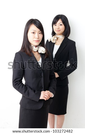 a portrait of asian businesswomen on white background - stock photo
