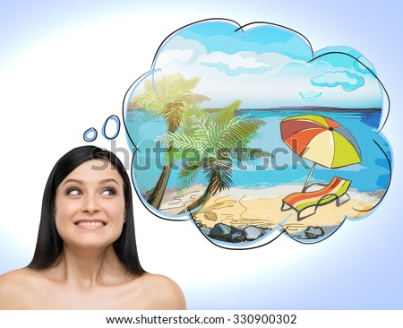 A portrait of astonishing brunette woman who dreams about summer vacation on the beach. A nice summer place is drawn in the thought bubble. Light blue background. - stock photo