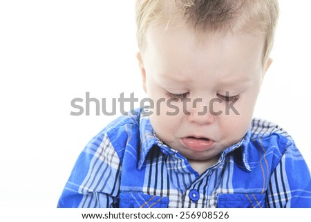 A Portrait Of Baby Boy Crying Isolated On White Background - stock photo