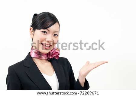 a portrait of beautiful business woman showing - stock photo