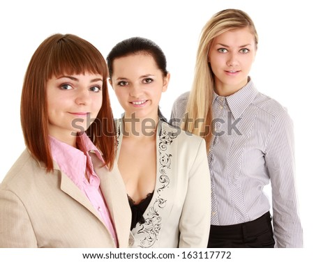 A portrait of businesswomen , isolated on white background - stock photo