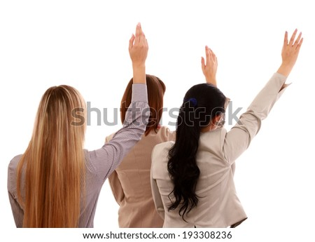 A portrait of businesswomen with hands up , isolated on white - stock photo