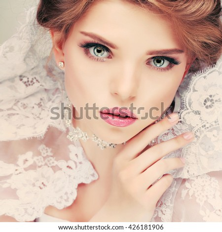 A portrait of elegant girl is in fashion style. Wedding decoration. Isolated on a white background - stock photo