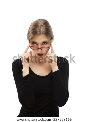 a portrait of girl with red glasses   - stock photo