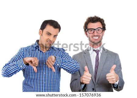 A portrait of two co-workers, a wall street businessman and a main street worker, one being negative and angry, the second one positive and optimistic, isolated on a white background. World polarity - stock photo