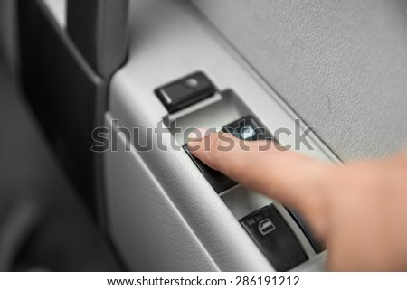 A portrait of windows controls and adjustments. Car window controls - stock photo
