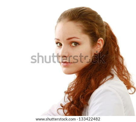 A portrait of young smiling woman on white background