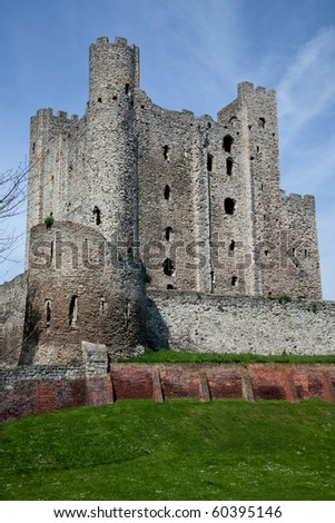 A Portrait view of Rochester Castle in Kent - stock photo