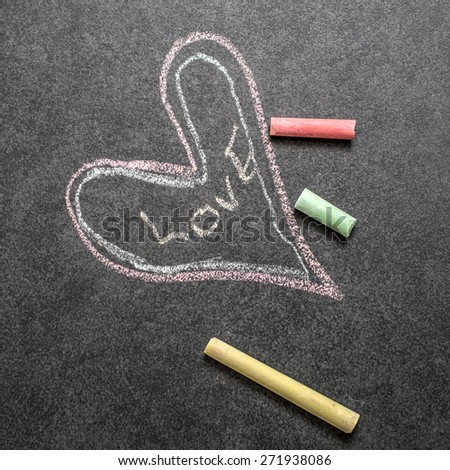 a positive sign, with a message  love, written with the chalk - stock photo