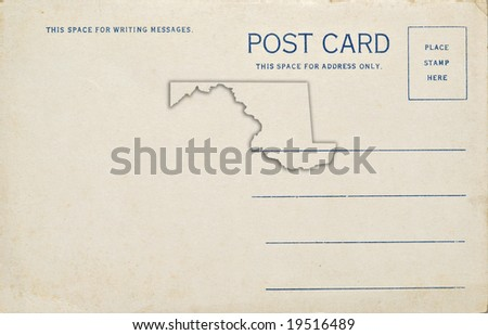 A postcard with a Maryland map outline. Dirt and scratches at 100%.