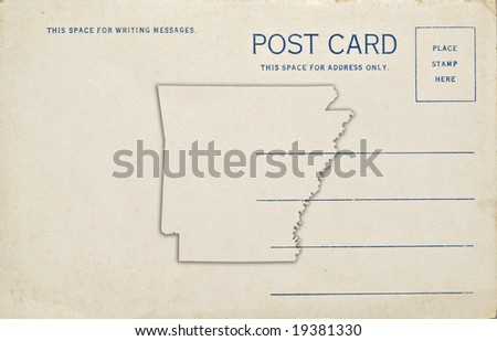 A postcard with an Arkansas map outline. Dirt and scratches at 100%.