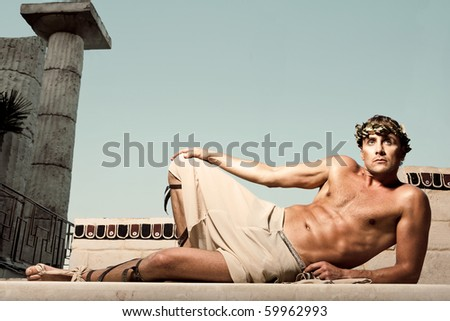 a power man lying on the floor - stock photo