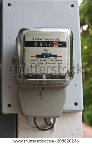 A power meter on electrical pole - stock photo