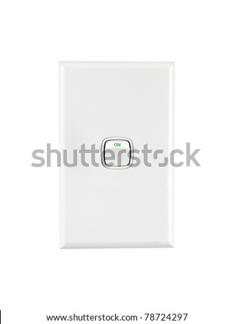 A power switch isolated against a white background - stock photo