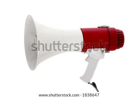A powerful portable public address megaphone or bullhorn. - stock photo