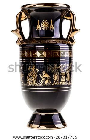 a precious gilded greek vase isolated over a white background - stock photo