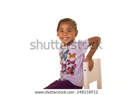 A preschool child isolated on white