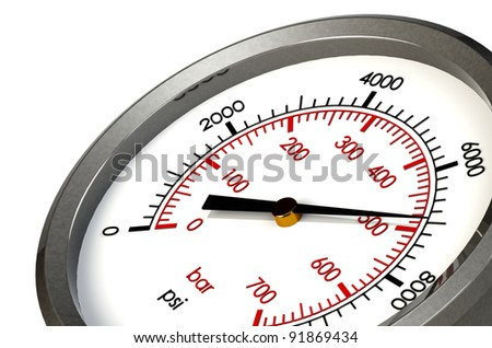 A Pressure Gauge Reading a Pressure of 7000 PSI - stock photo
