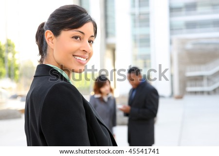 A pretty african american business woman at her office building
