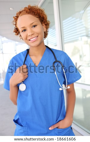 A pretty african american woman nurse at the hospital
