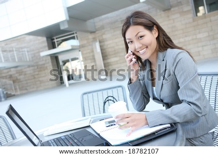 A pretty asian business woman working on laptop computer - stock photo