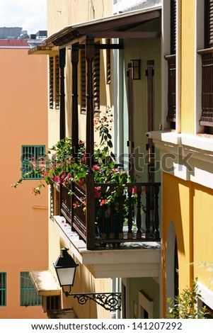 A pretty balcony with flowers in San Juan, Puerto Rico - stock photo