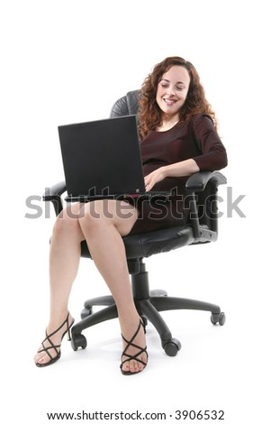 A pretty business woman using her laptop computer