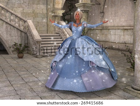 A pretty girl in a blue ball gown with sparkles in an old stone courtyard. - stock photo