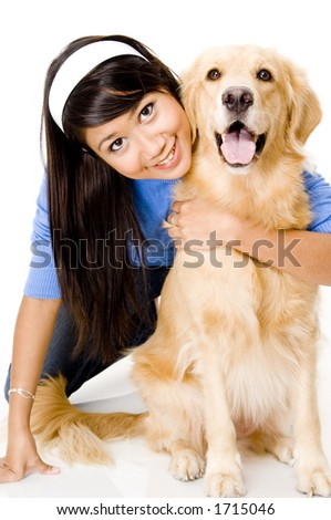 A pretty young asian woman with her pet dog