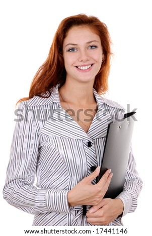 A pretty young redheaded businesswoman with clipboard