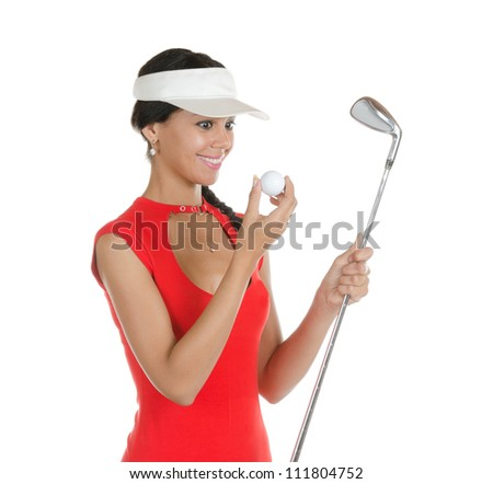 A pretty young woman golfer with different facial expressions.  Isolated on white.