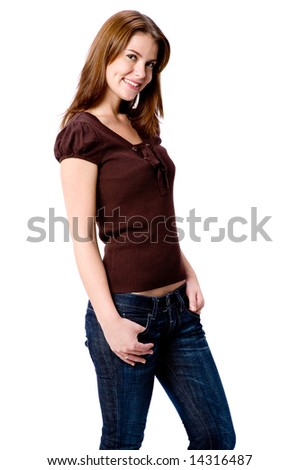 A pretty young woman in casual clothing on white background - stock photo