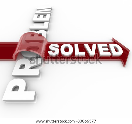A problem is resolved according to the arrow marked Solved over the word Problem, illustrating a successful resolution to trouble or issue - stock photo