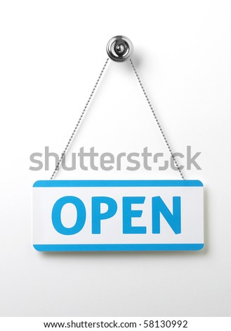 a process blue open door sign on a silver chain on a white background - stock photo