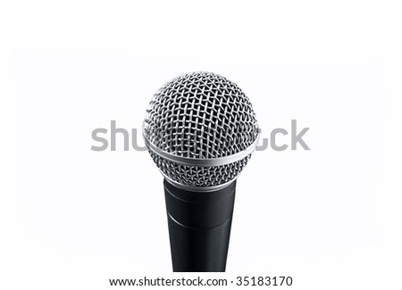 A prof black microphone on white background - stock photo