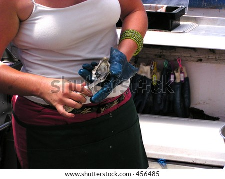 a professional lady oyster shucker - stock photo