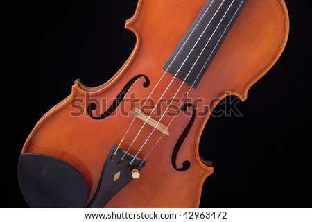 A professional professional violin viola isolated against a black background.