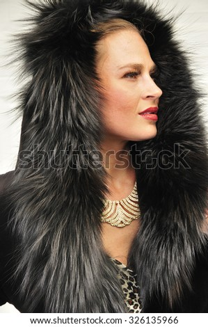 A profile of a wealthy woman dressed in luxurious black fur coat - stock photo