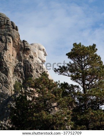 A profile view of the George Washington carving at the Mount Rushmore National Monument. - stock photo