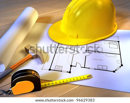 A project for a new house with an hammer, a tape meter and a security helmet. Digital illustration. - stock photo