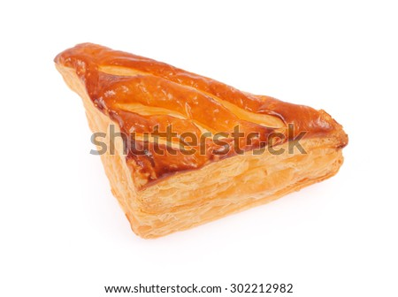 A puff pastry pie with cheese isolated on white background