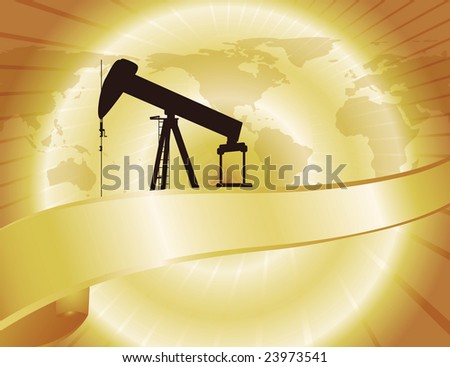 A pump jack stands on a golden backdrop of oil. World map also featured.